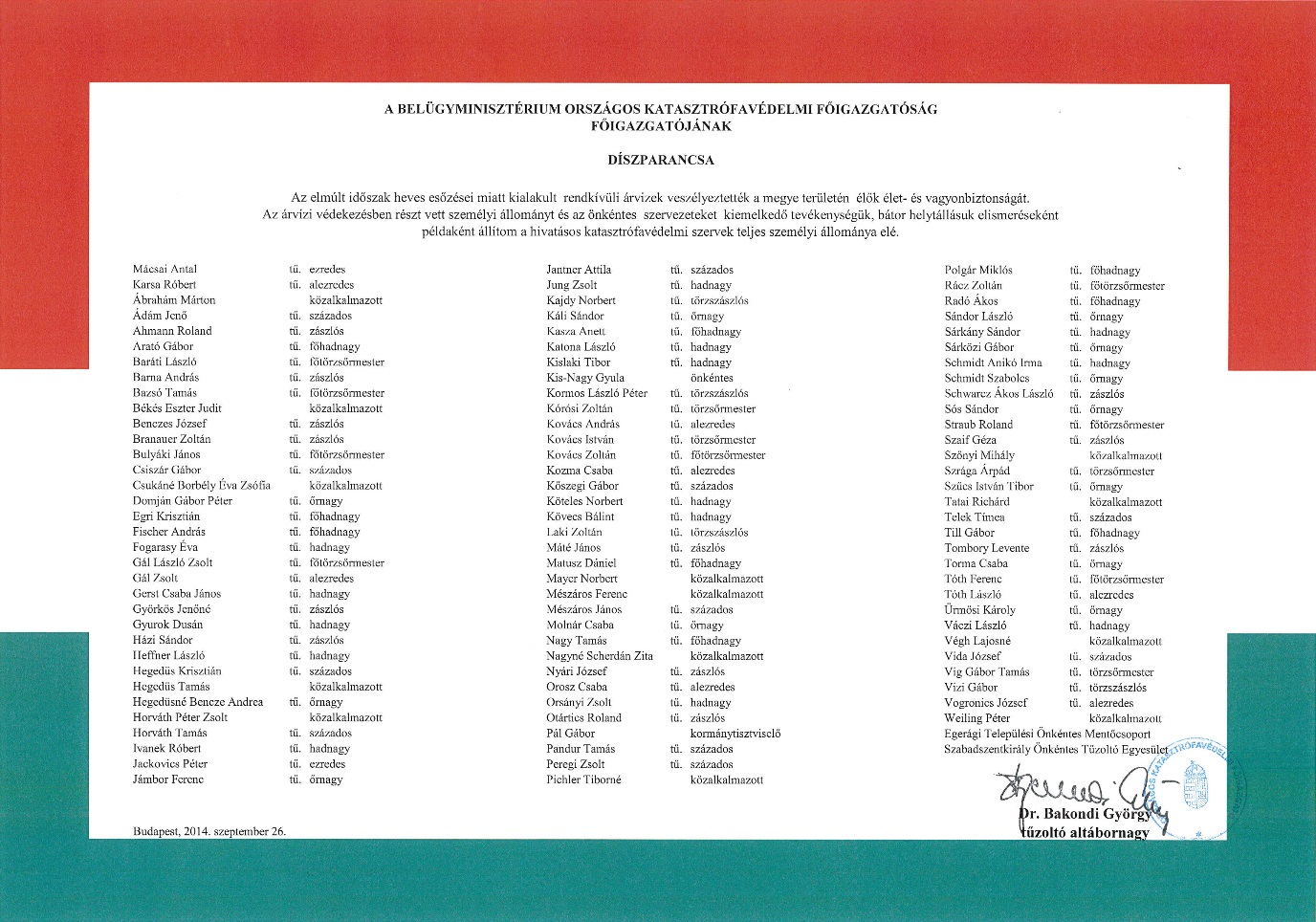 2014. szeptember 26. Baranya MKI díszparancsról készült kép, kattintásra nagyítható